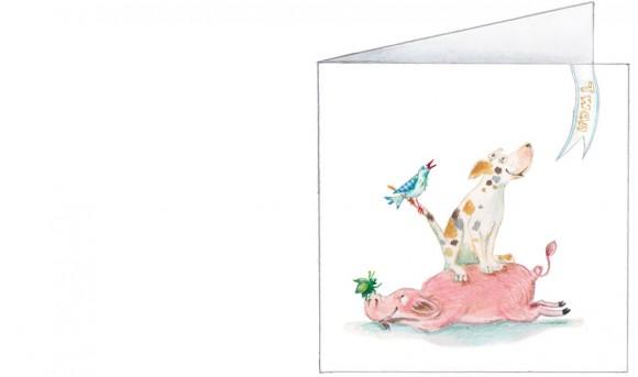 platteland stapel: varken, hond, vogel, tor, lieveheersbeestje  jongen  voorkant