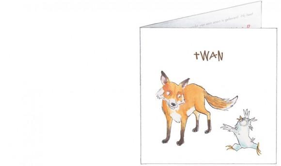 bosdieren: vos, uil, das, ooievaar   voorkant