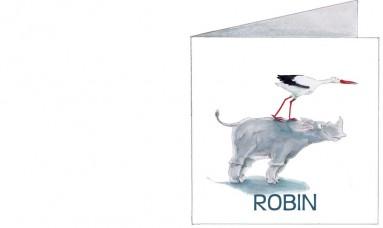 Voorkant   Robin   neushoorn met ooievaar op rug
