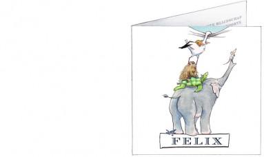 Voorkant   Felix   dierenstapel met olifant ooievaar en oerzon