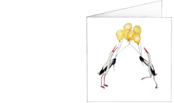 ooievaars met verstrengelde ballonnen   geel   voorkant