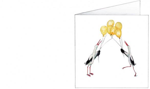 ooievaars met verstrengelde ballonnen | geel | voorkant