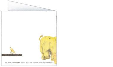 gele olifanten | achterkant