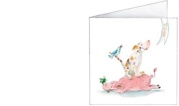 platteland stapel: varken, hond, vogel, tor, lieveheersbeestje| jongen| voorkant