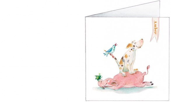 platteland stapel: varken, hond, vogel, tor, lieveheersbeestje| voorkant