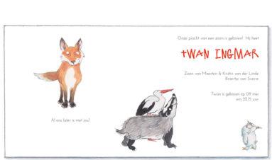 bosdieren: vos, uil, das, ooievaar | binnenkant