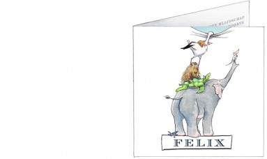 Voorkant | Felix | dierenstapel met olifant ooievaar en oerzon