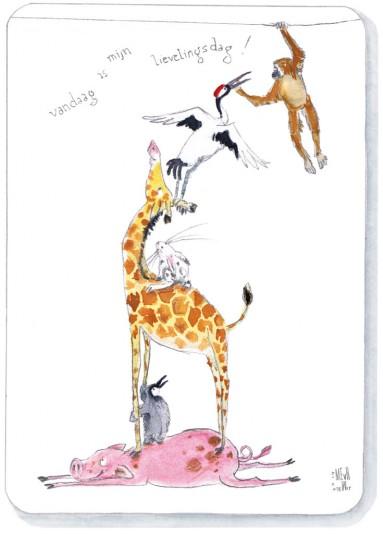 Voorkant | Phaedra | dierenstapel met giraffe en kraanvogel