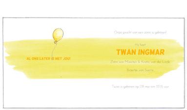 ooievaars met verstrengelde ballonnen | geel | binnenkant