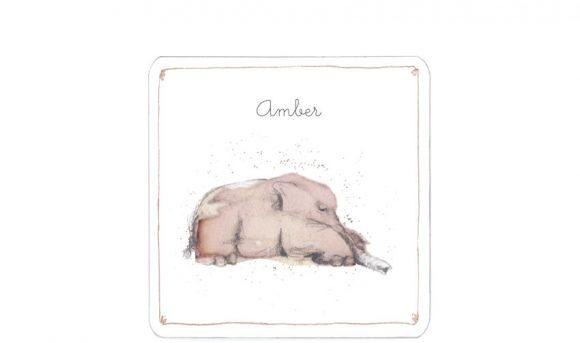 liggend olifantje | theevlek| enkele kaart | voorkant