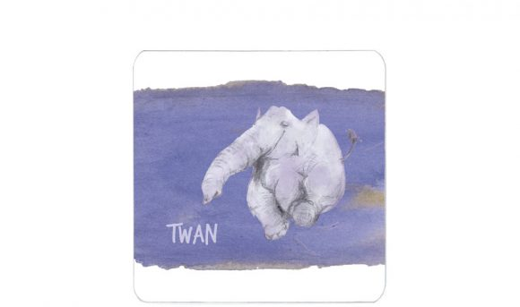 super blije olifant | enkel kaart| handafdruk| voorkant