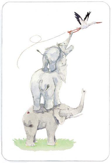 Voorkant | Menasse | olifantestapel met ooievaar