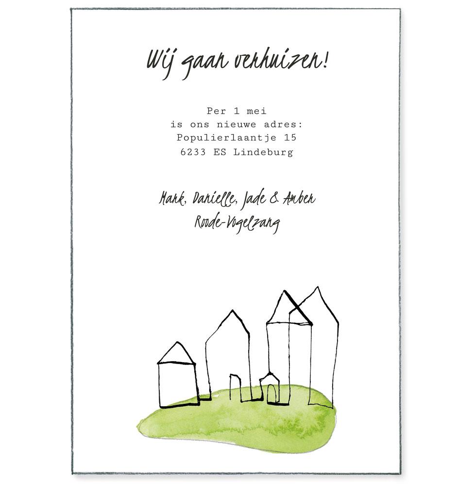 verhuiskaart huizen op een heuvel